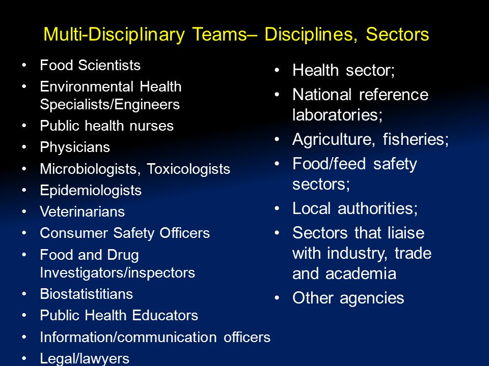 Multi-Disciplinary Teams– Disciplines, Sectors