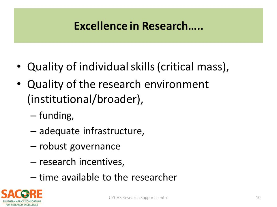 Excellence in Research…..