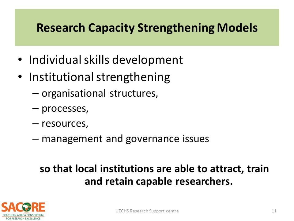 Research Capacity Strengthening Models