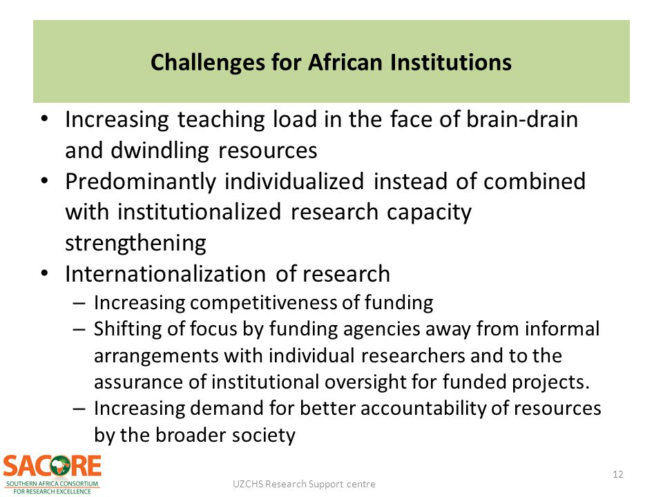 Challenges for African Institutions