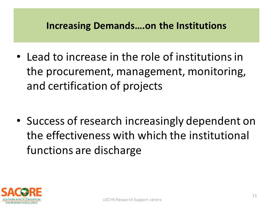Increasing Demands….on the Institutions
