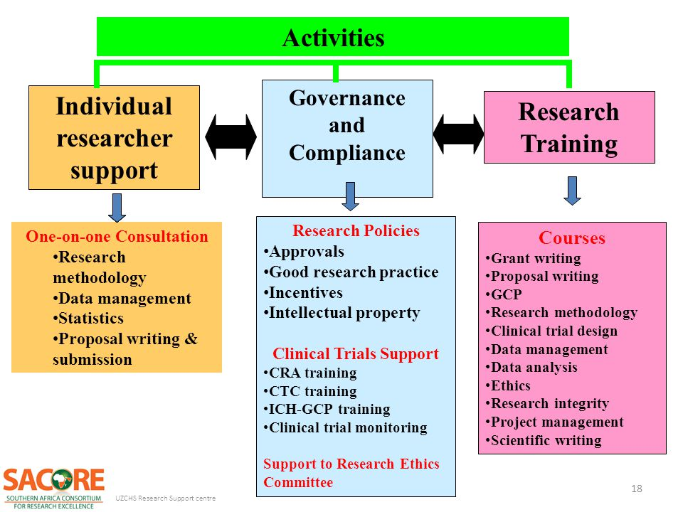 Activities Individual researcher support Research Training