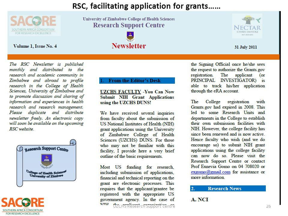 RSC, facilitating application for grants……