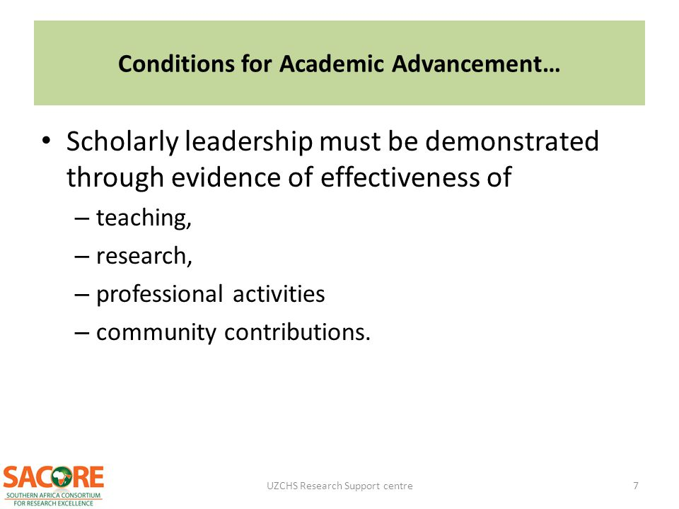 Conditions for Academic Advancement…