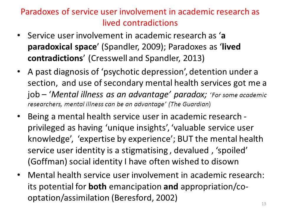 Paradoxes of service user involvement in academic research as lived contradictions