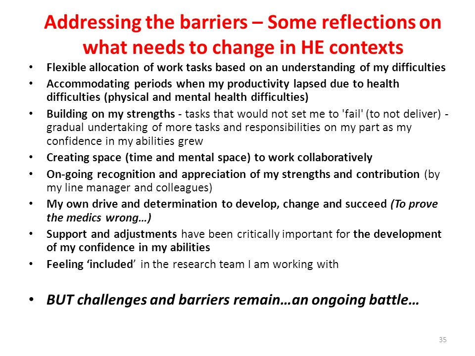 Addressing the barriers – Some reflections on what needs to change in HE contexts