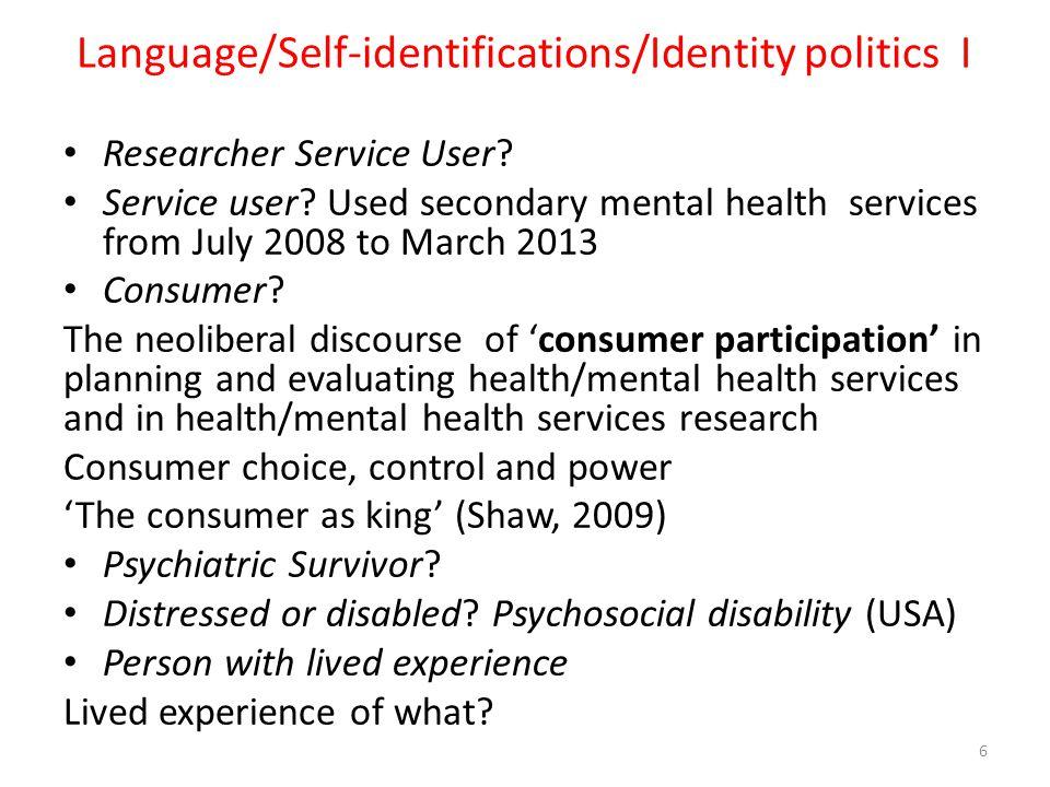 Language/Self-identifications/Identity politics I
