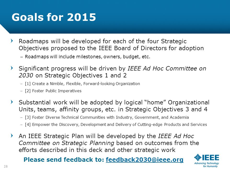 Goals for 2015 Roadmaps will be developed for each of the four Strategic Objectives proposed to the IEEE Board of Directors for adoption.
