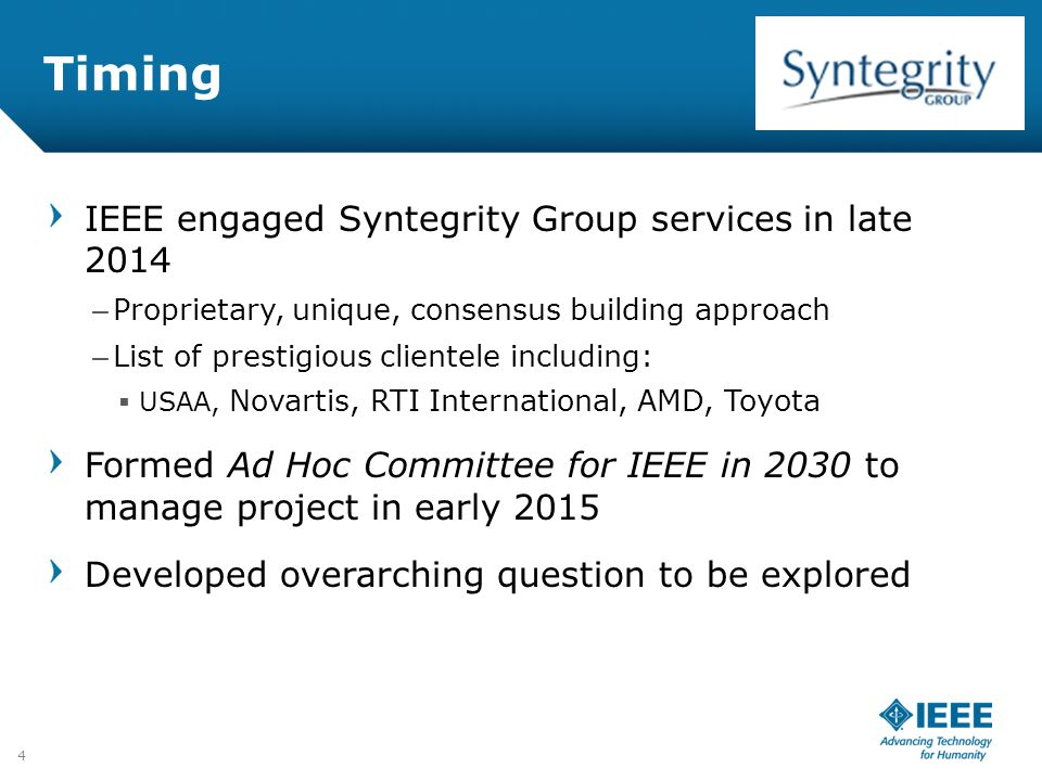 Timing IEEE engaged Syntegrity Group services in late 2014