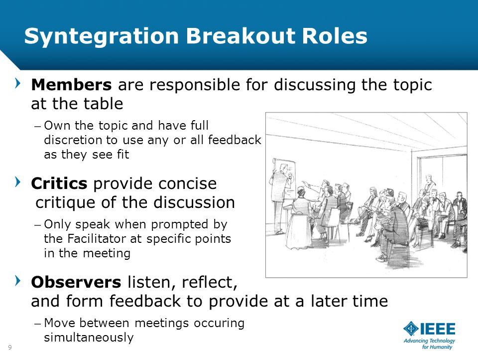 Syntegration Breakout Roles