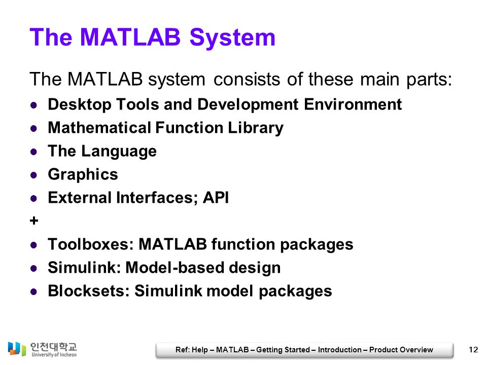 Ref: Help – MATLAB – Getting Started – Introduction – Product Overview