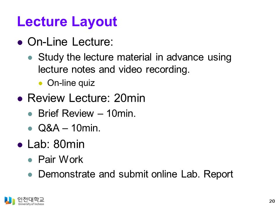 Lecture Layout On-Line Lecture: Review Lecture: 20min Lab: 80min