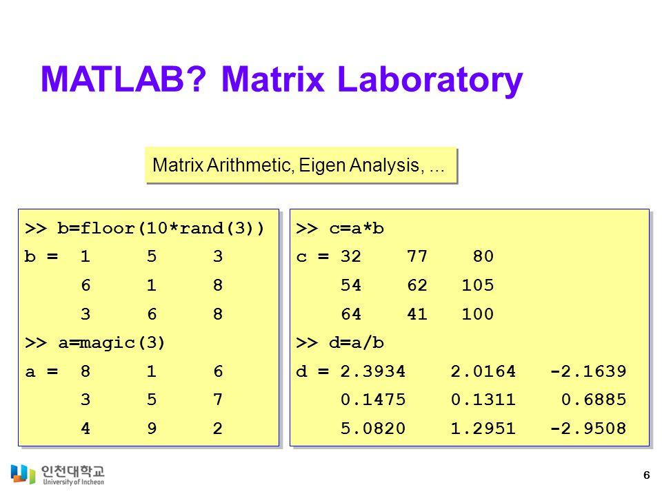 Matrix Arithmetic, Eigen Analysis, ...