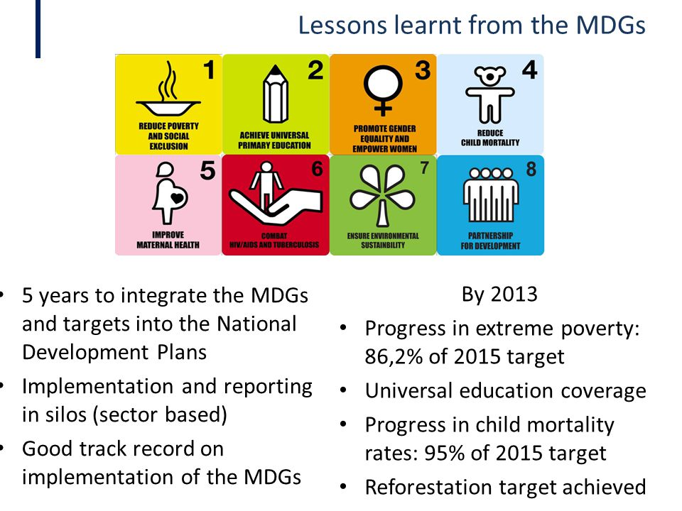 Lessons learnt from the MDGs