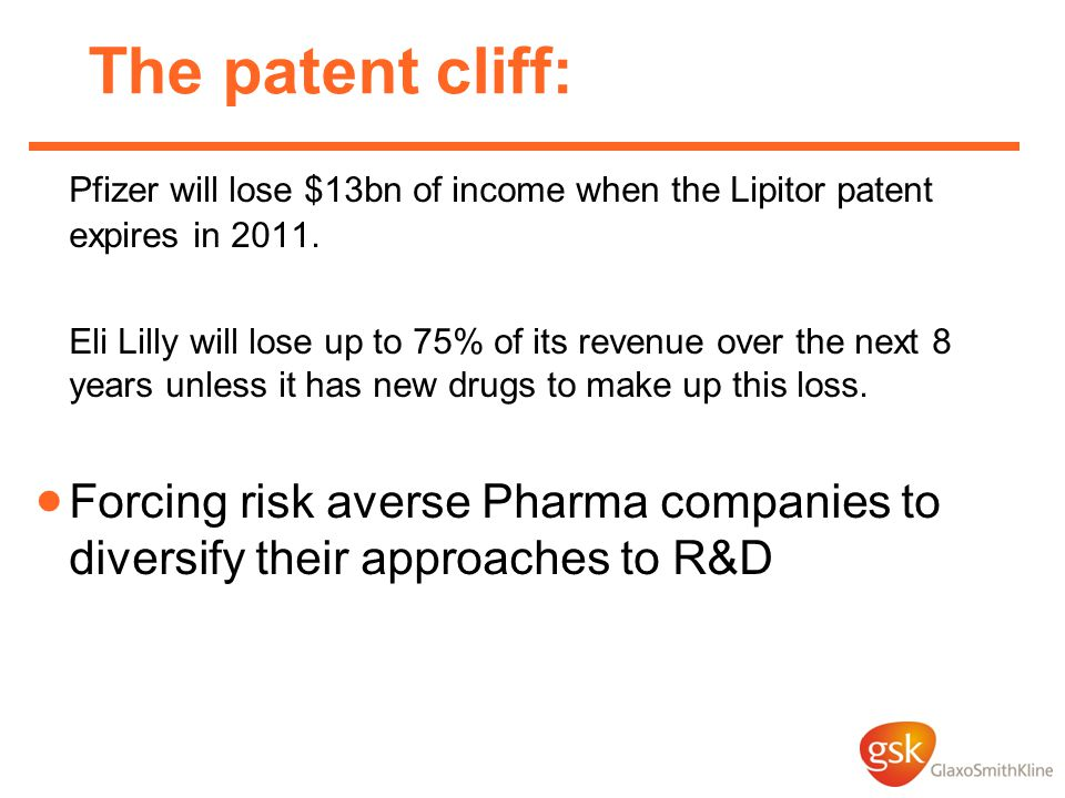 The patent cliff: Pfizer will lose $13bn of income when the Lipitor patent expires in 2011.