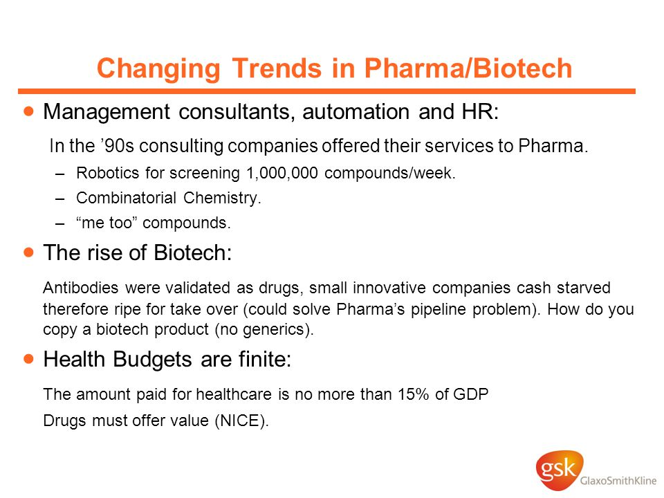 Changing Trends in Pharma/Biotech