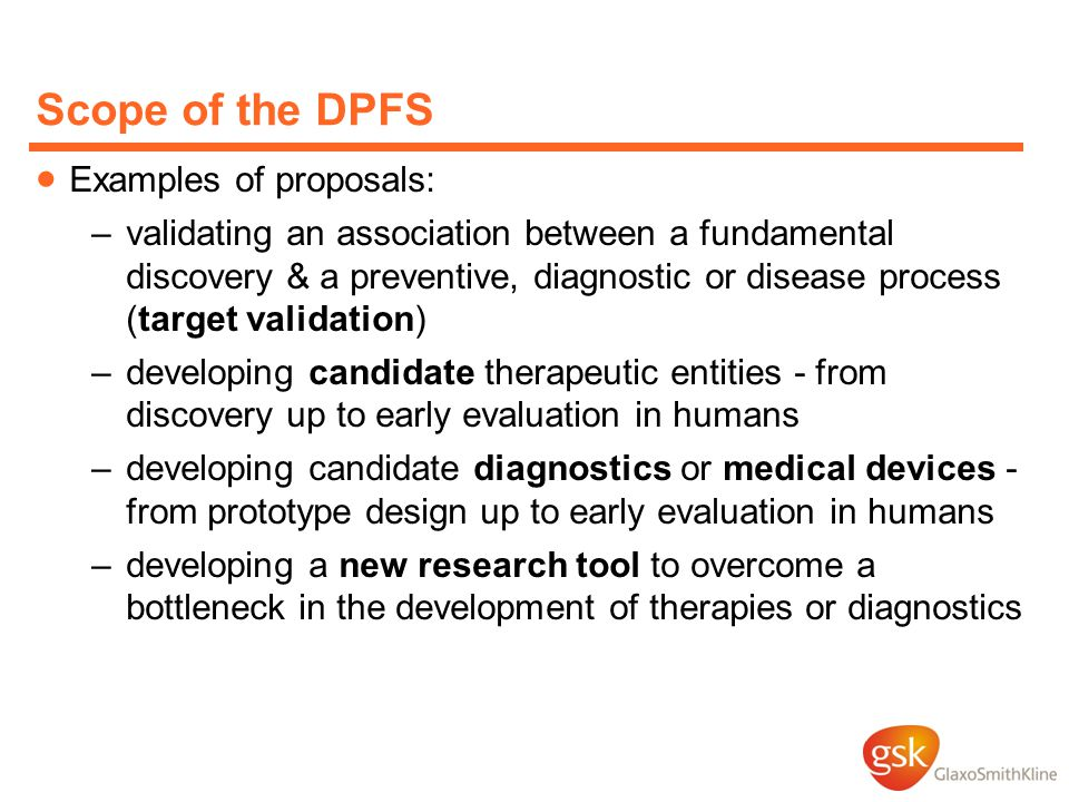 Scope of the DPFS Examples of proposals: