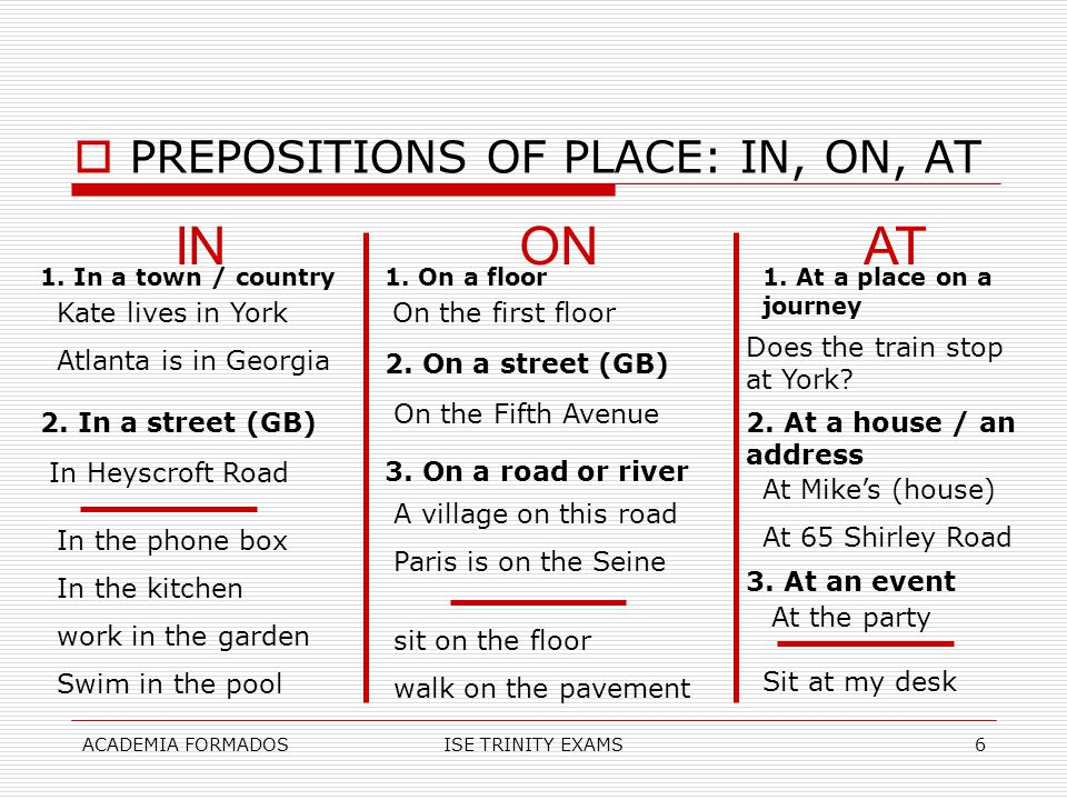 IN ON AT PREPOSITIONS OF PLACE: IN, ON, AT Kate lives in York