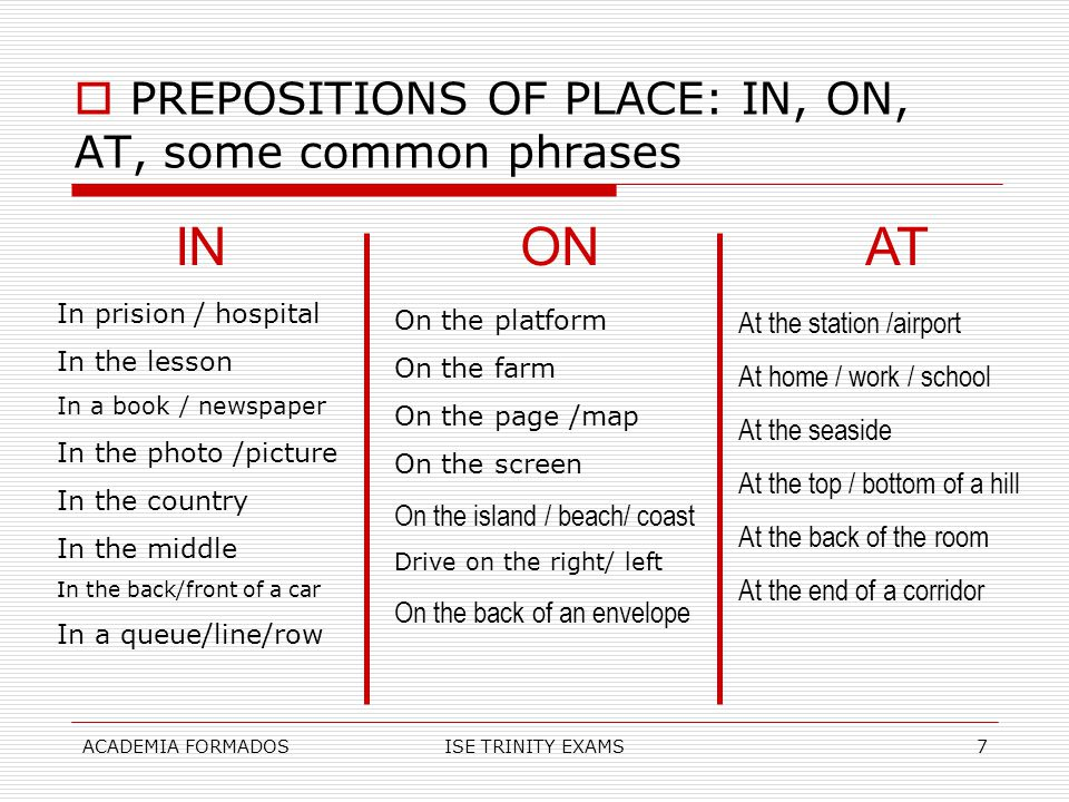 IN ON AT PREPOSITIONS OF PLACE: IN, ON, AT, some common phrases