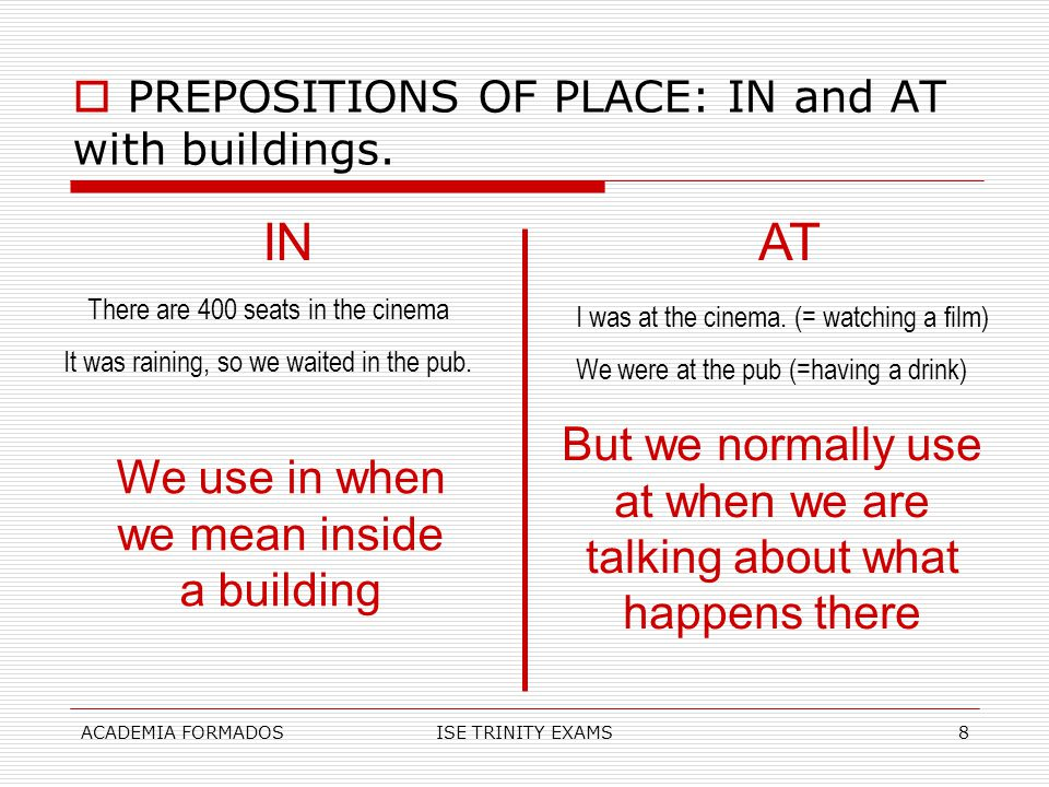 PREPOSITIONS OF PLACE: IN and AT with buildings.