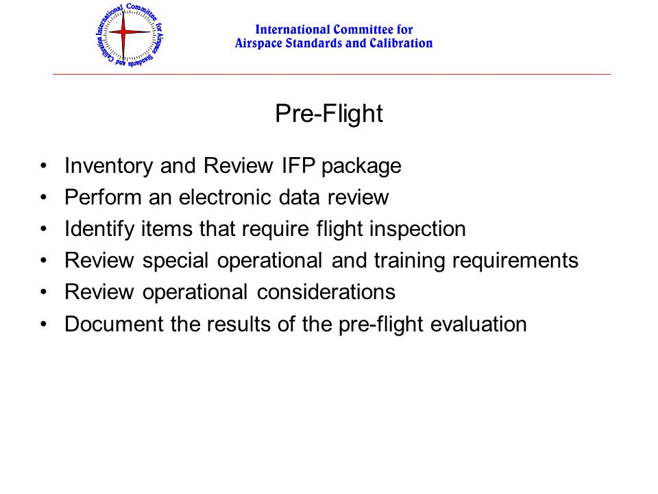 Pre-Flight Inventory and Review IFP package