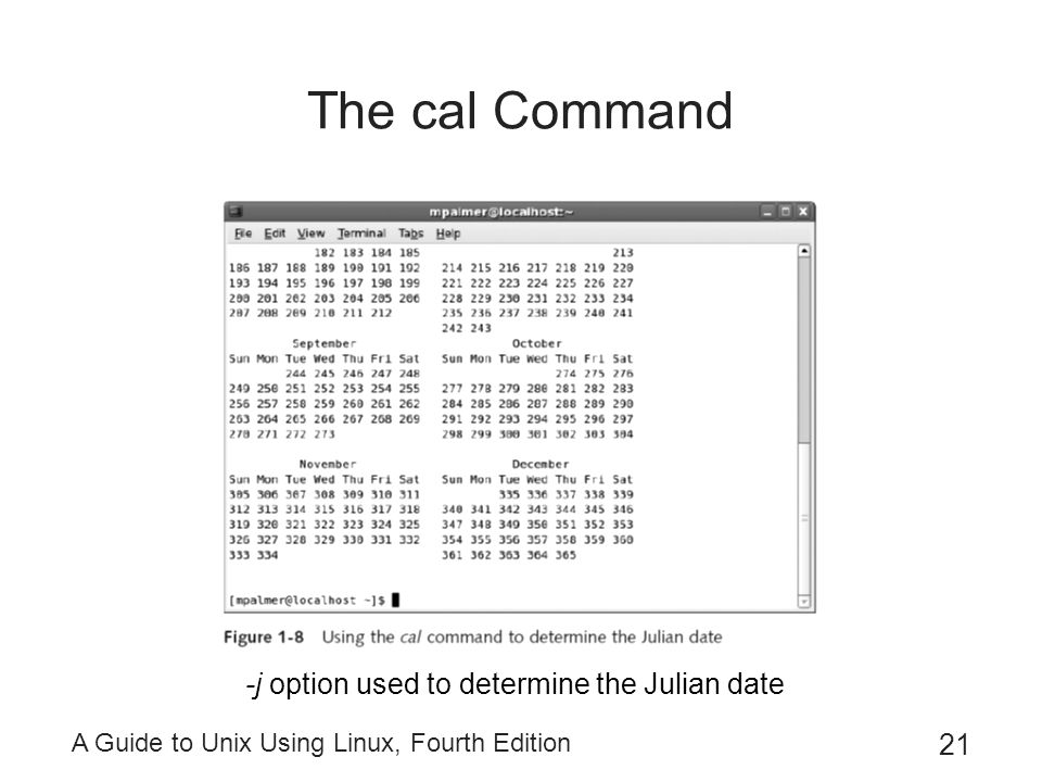 The cal Command -j option used to determine the Julian date