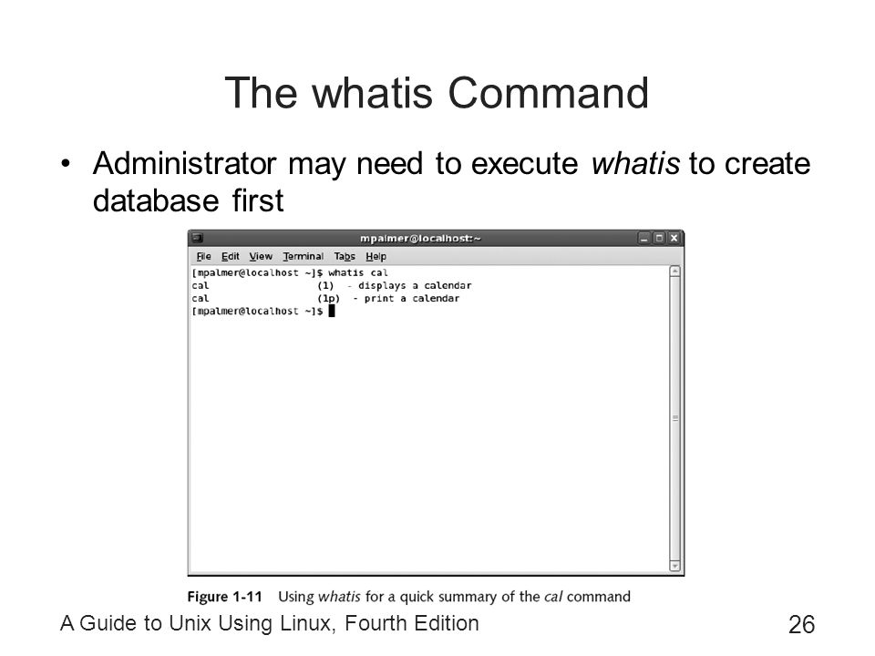 The whatis Command Administrator may need to execute whatis to create database first.