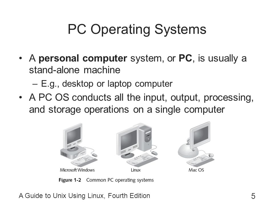 PC Operating Systems A personal computer system, or PC, is usually a stand-alone machine. E.g., desktop or laptop computer.