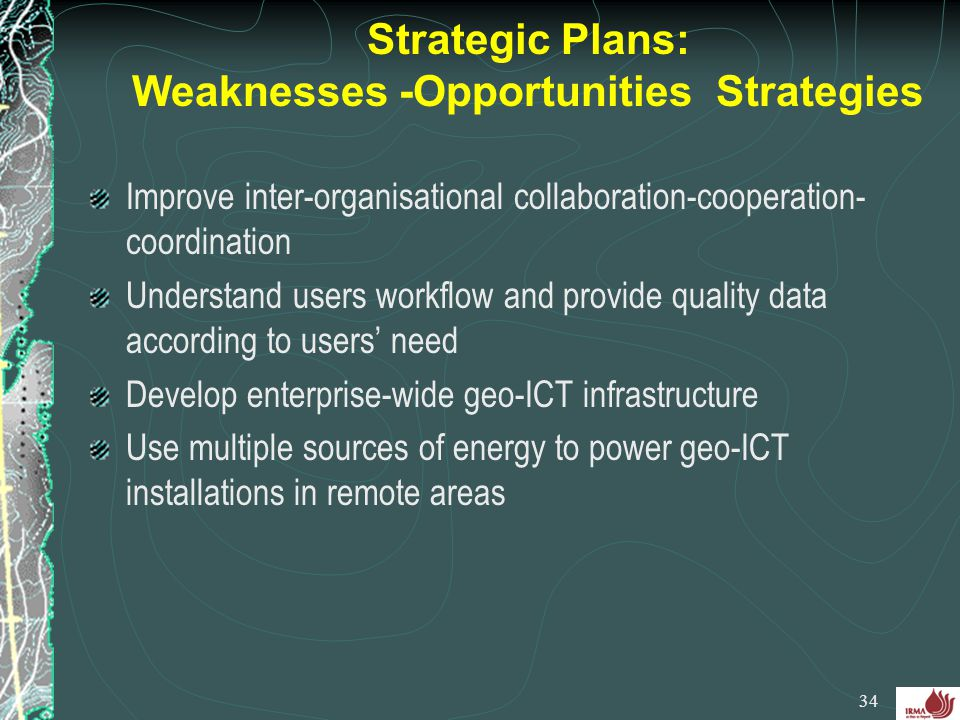 Strategic Plans: Weaknesses -Opportunities Strategies