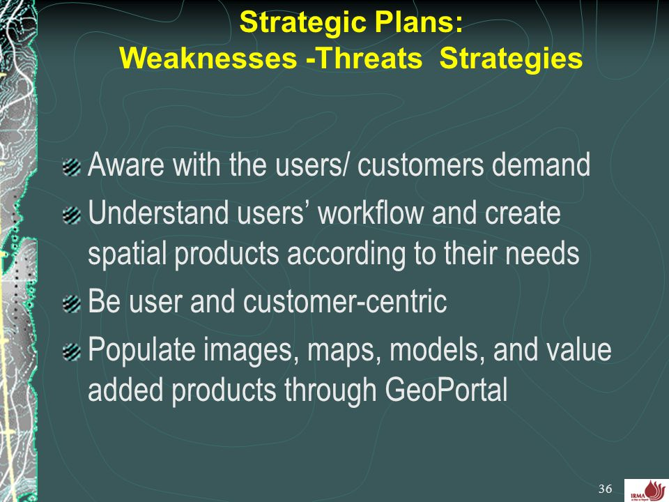 Strategic Plans: Weaknesses -Threats Strategies