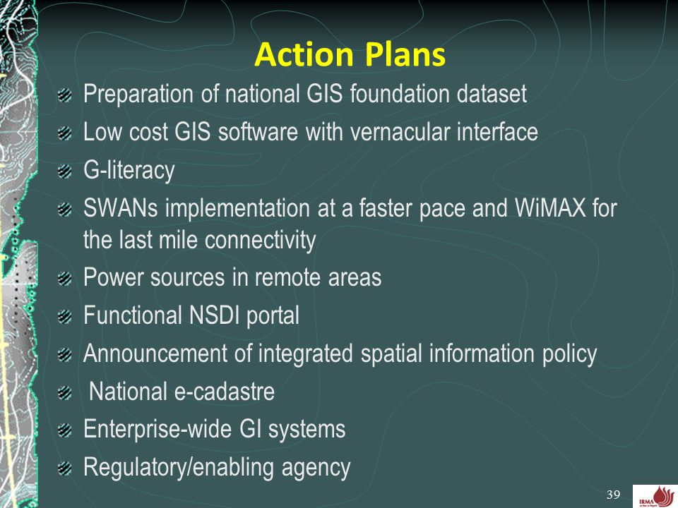 Action Plans Preparation of national GIS foundation dataset
