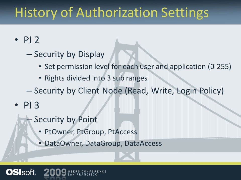History of Authorization Settings