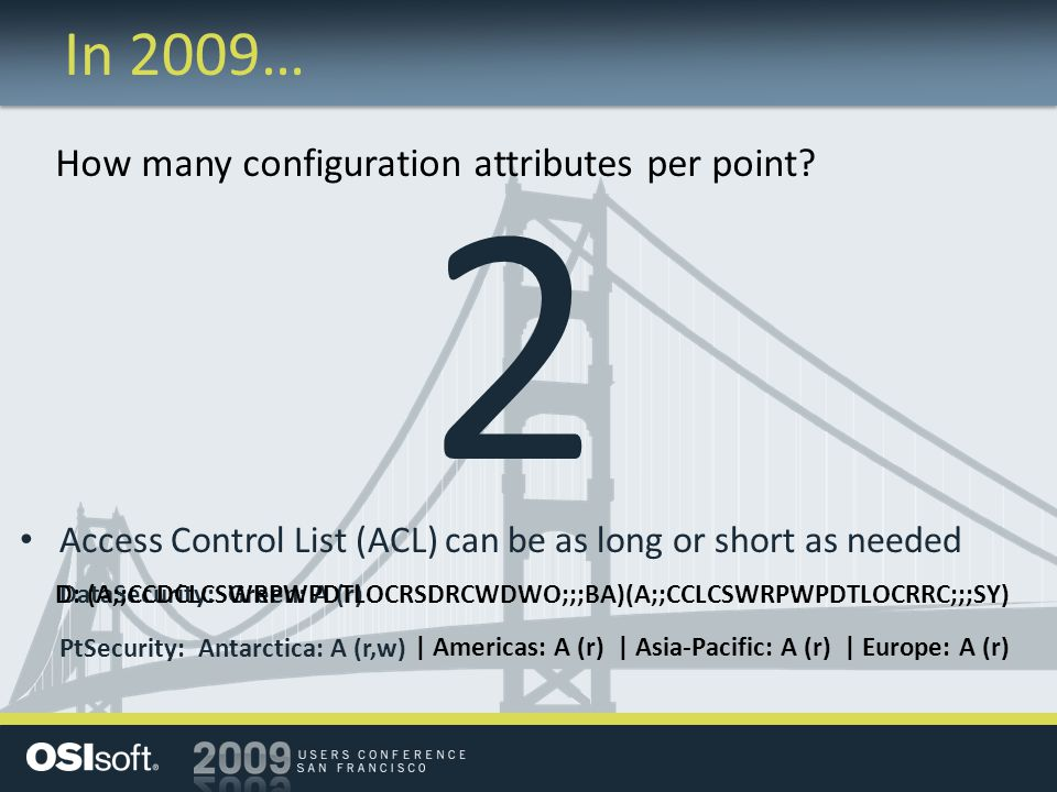 2 In 2009… How many configuration attributes per point