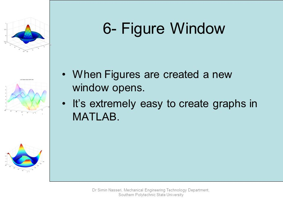 6- Figure Window When Figures are created a new window opens.