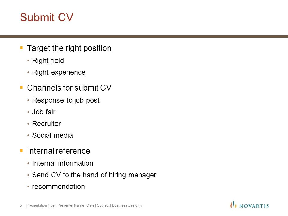 Submit CV Target the right position Channels for submit CV