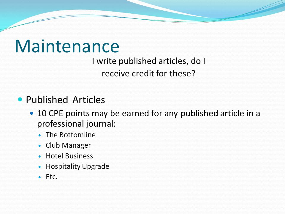 Maintenance Published Articles I write published articles, do I