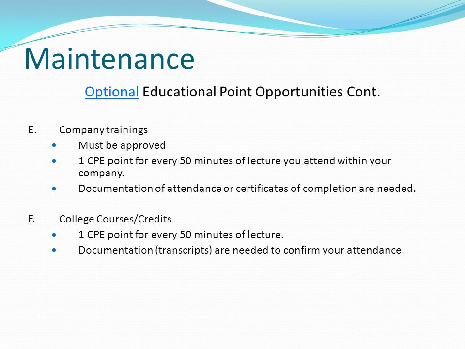 Optional Educational Point Opportunities Cont.