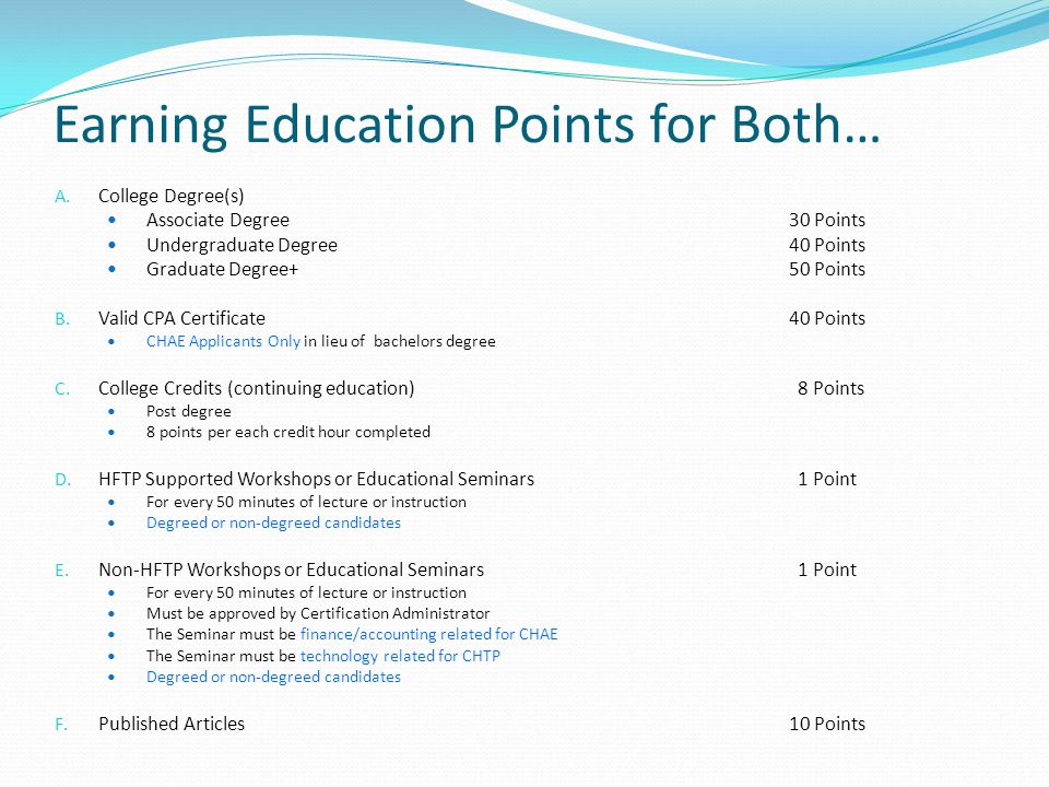Earning Education Points for Both…