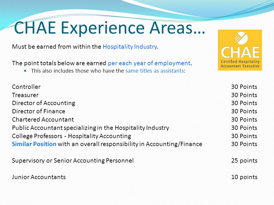 CHAE Experience Areas…