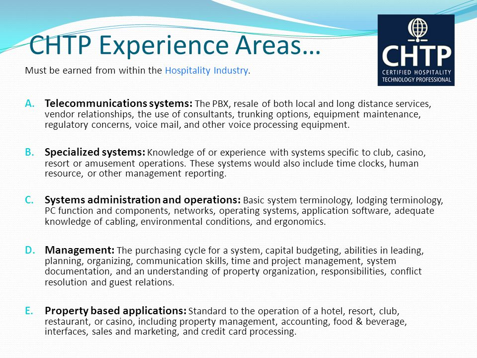 CHTP Experience Areas…