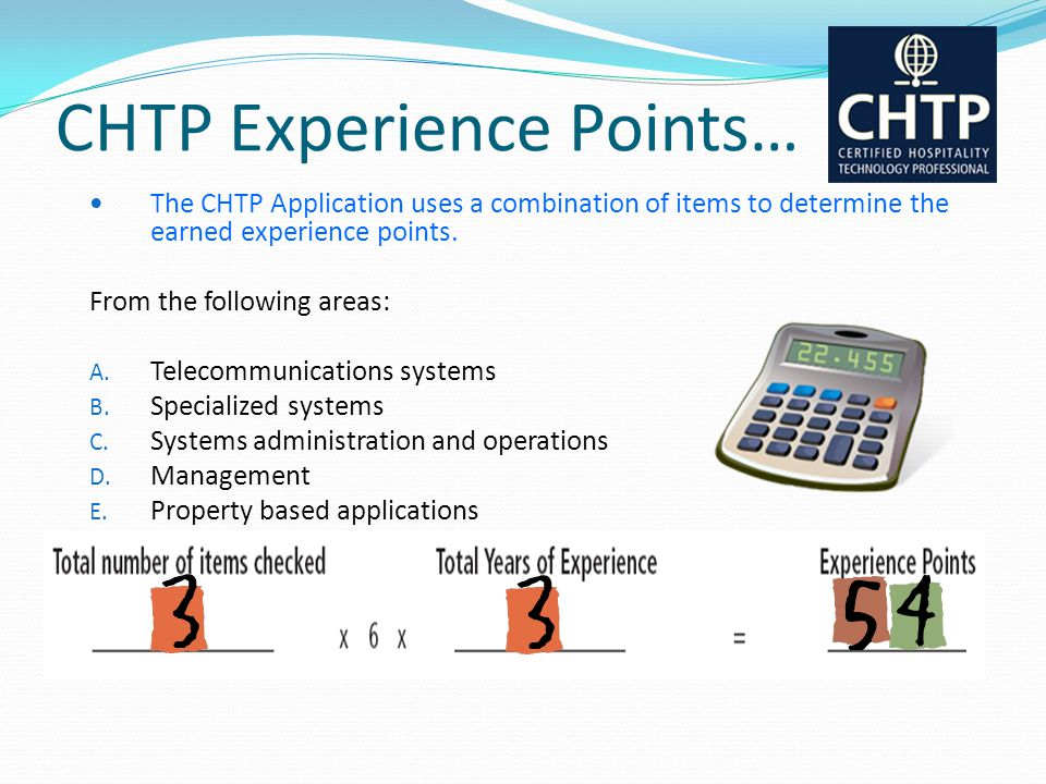 CHTP Experience Points…