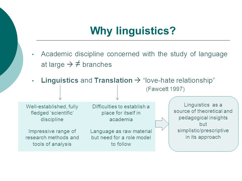 Why linguistics Academic discipline concerned with the study of language at large  ≠ branches.