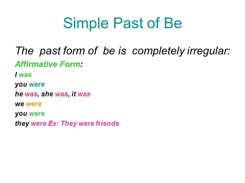 Simple Past of Be The past form of be is completely irregular: