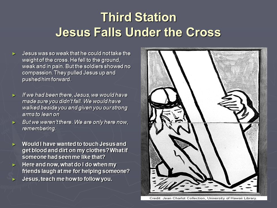 Third Station Jesus Falls Under the Cross
