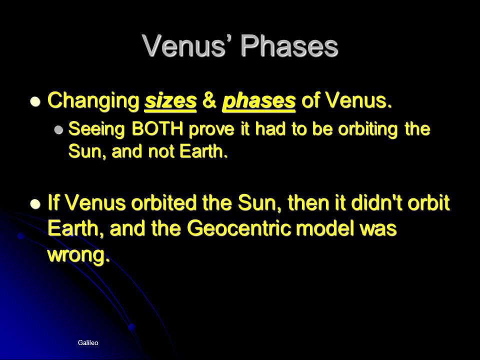 Venus' Phases Changing sizes & phases of Venus.