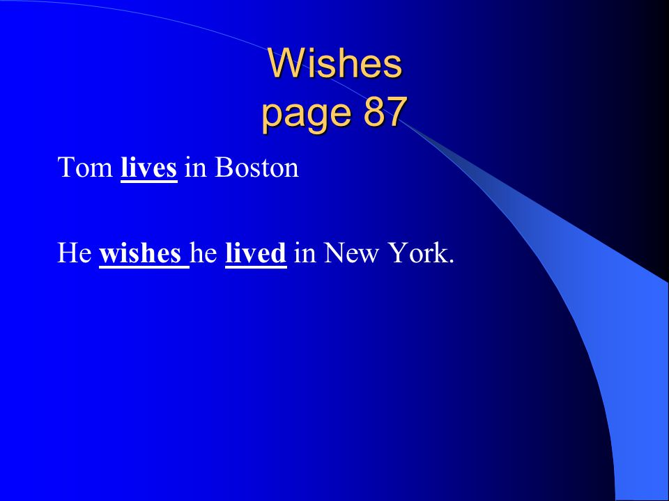 Wishes page 87 Tom lives in Boston He wishes he lived in New York.