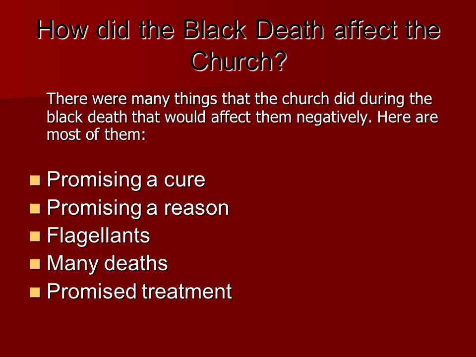 How did the Black Death affect the Church