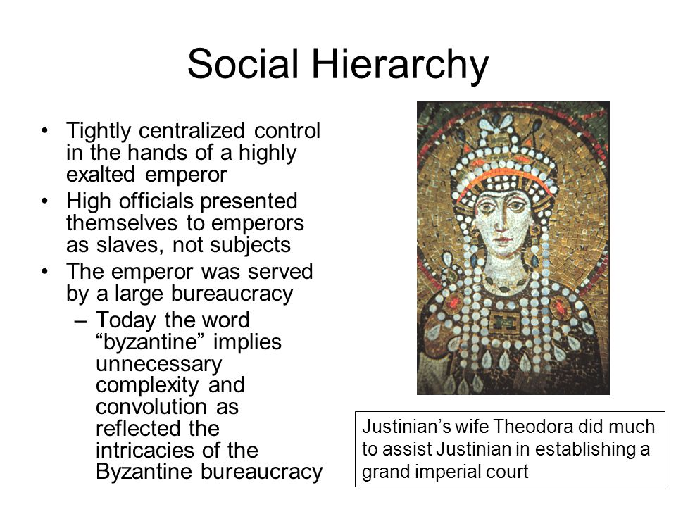 Social Hierarchy Tightly centralized control in the hands of a highly exalted emperor.