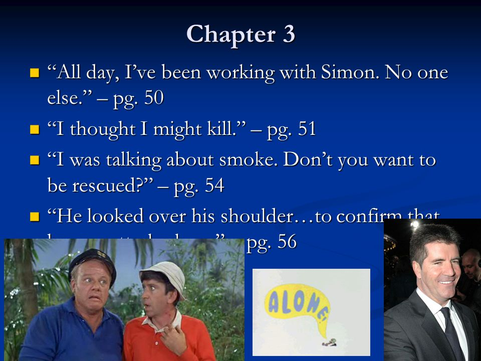 Chapter 3 All day, I've been working with Simon. No one else. – pg. 50. I thought I might kill. – pg. 51.