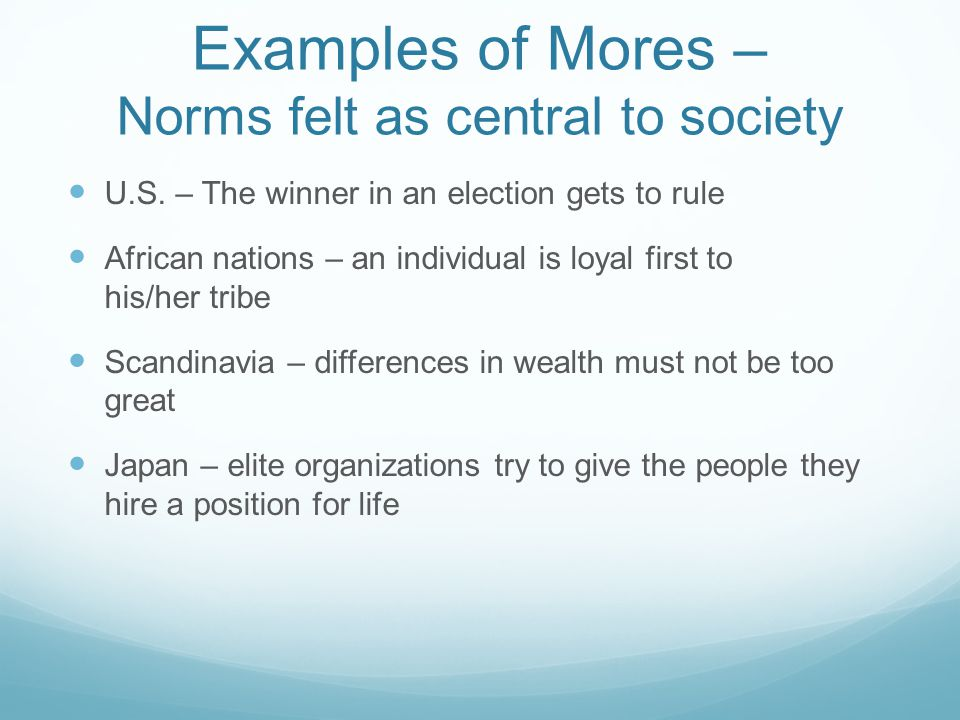 Examples of Mores – Norms felt as central to society
